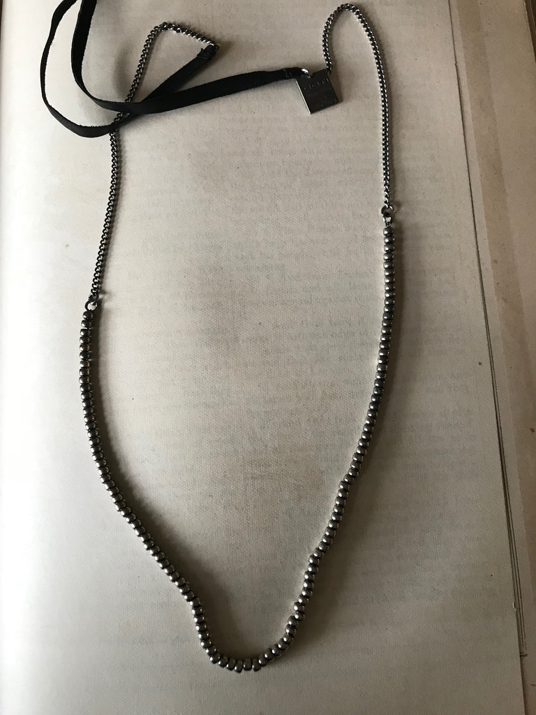 Goti 925 Oxidised Silver and leather necklace