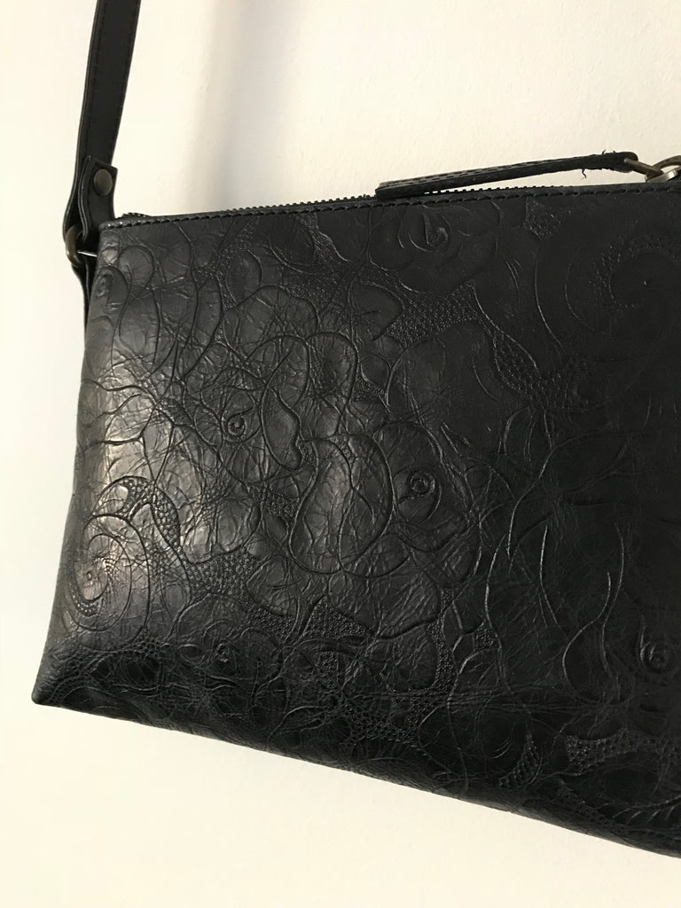 CollardManson Elsie Bag- Black floral Leather