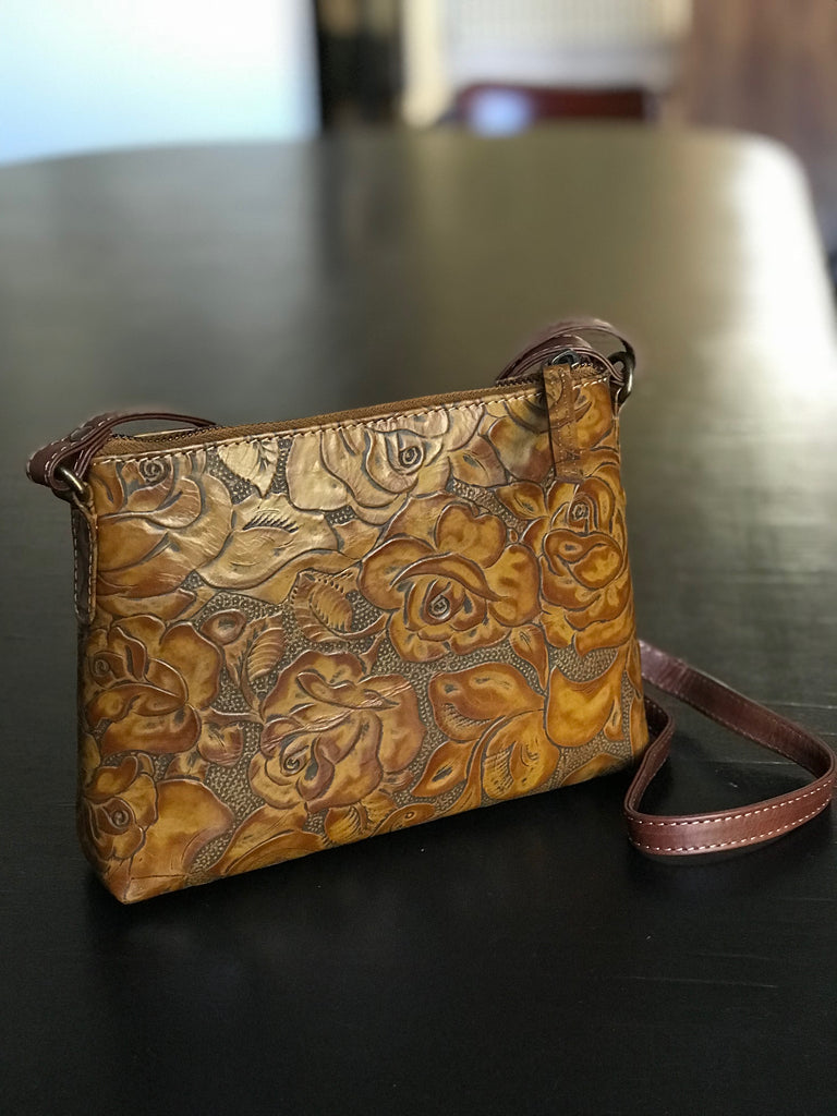 CollardManson Elsie Bag- Tan floral Leather