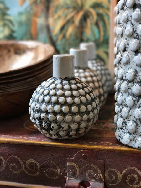 Round textured stoneware vase/candle holder