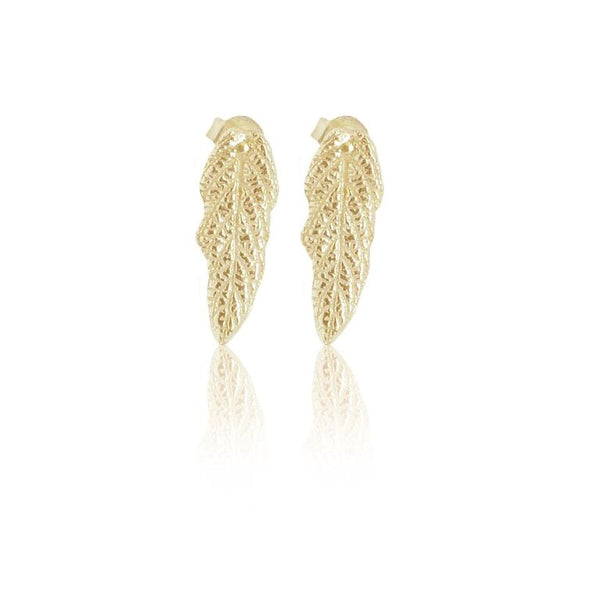 CollardManson 925 Gold Plated Leaf Stud Earrings