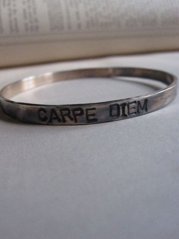 WDTS Sheffield Silver - Hand Hammered Bangle - CARPE DIEM - Mixed Finish