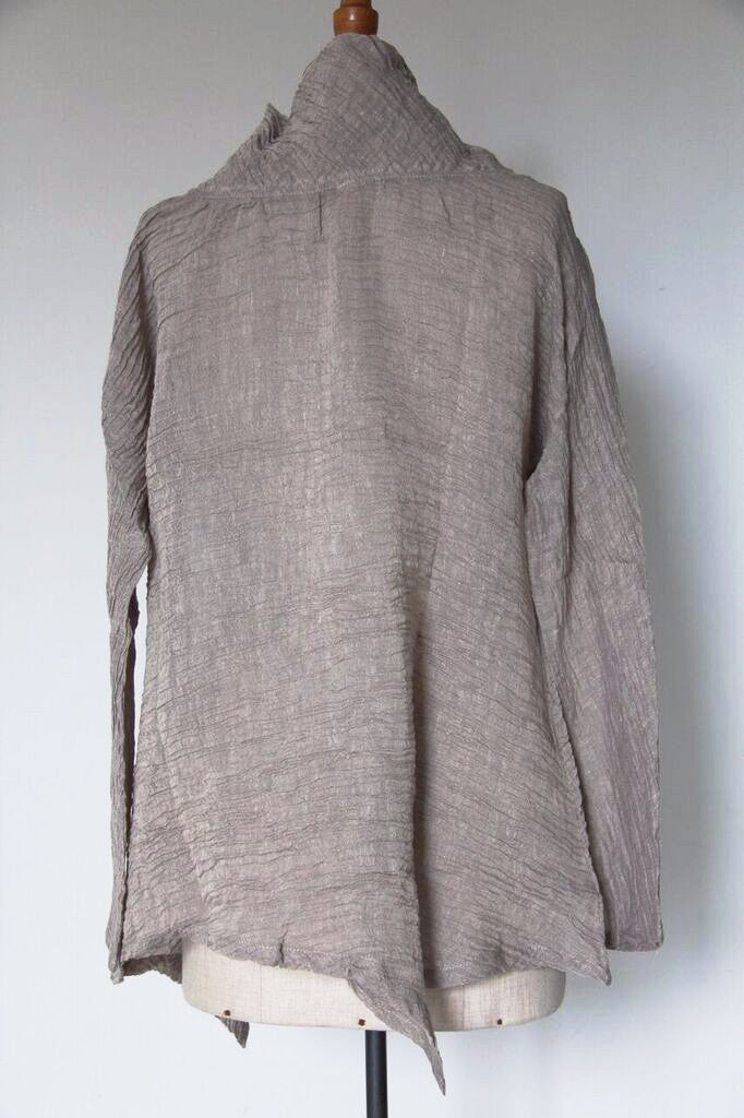 CollardManson Funnel Neck Top- Taupe
