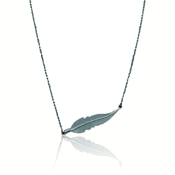 CollardManson 925 Silver horizontal Feather Necklace