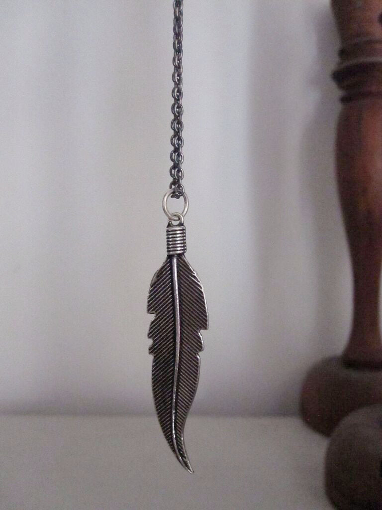 925 Silver Large Feather Necklace