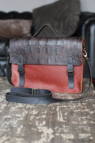 CollardManson Italian Leather Satchel - Two-tone Brown Croc & Tan