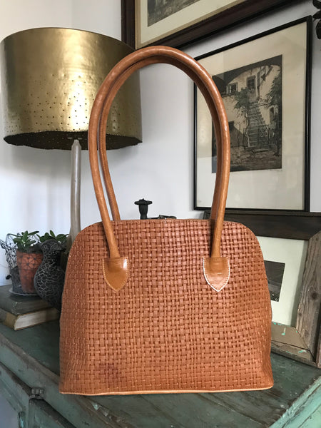 CollardManson Bowling Bag -  Weaved Tan