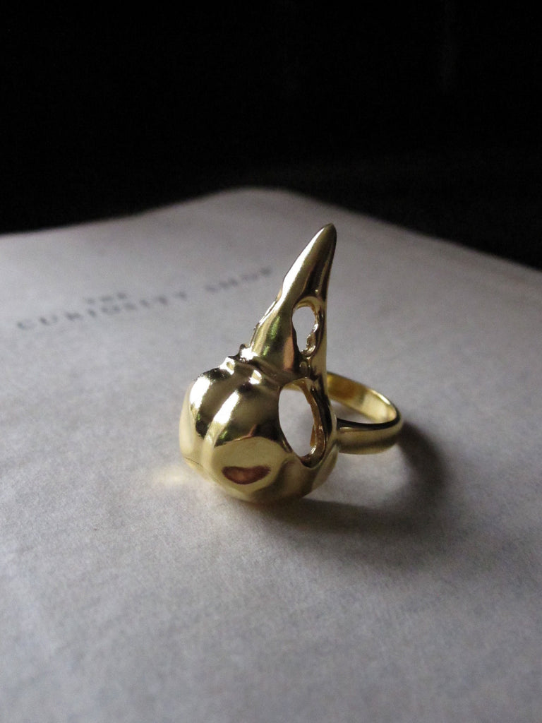 WDTS 925 Silver gold plated Bird Skull Ring