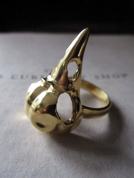 WDTS 925 Silver Bird Skull Ring- gold
