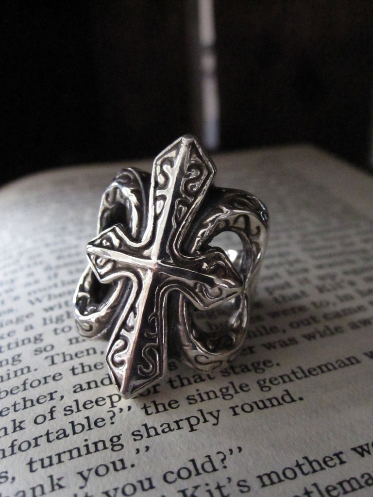 WDTS 925 Silver large cross ring