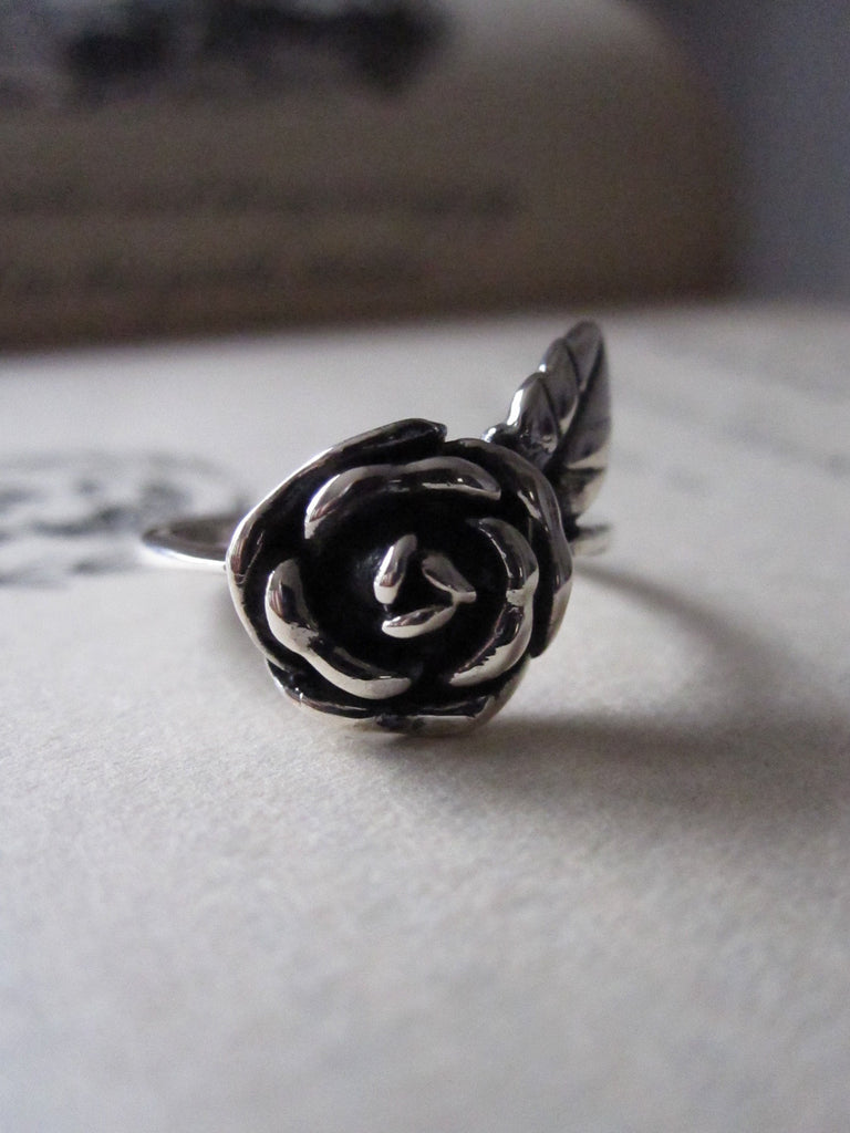 CollardManson 925 silver rose and leaf ring