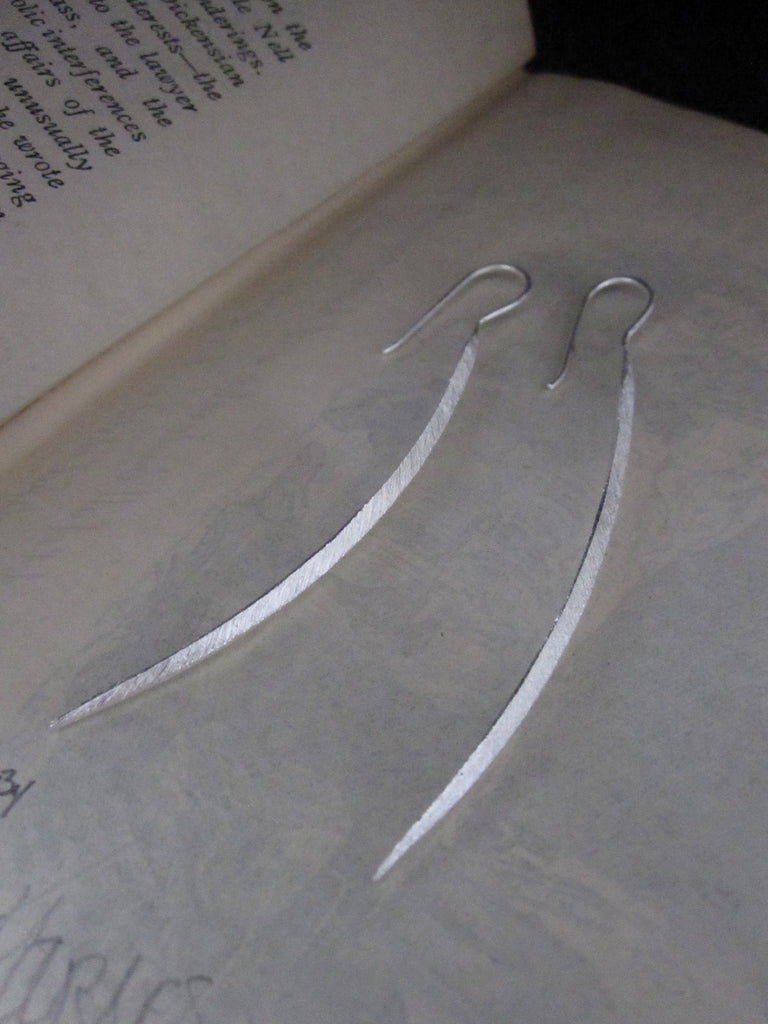 CollardManson 925 Silver Long Curved Earrings