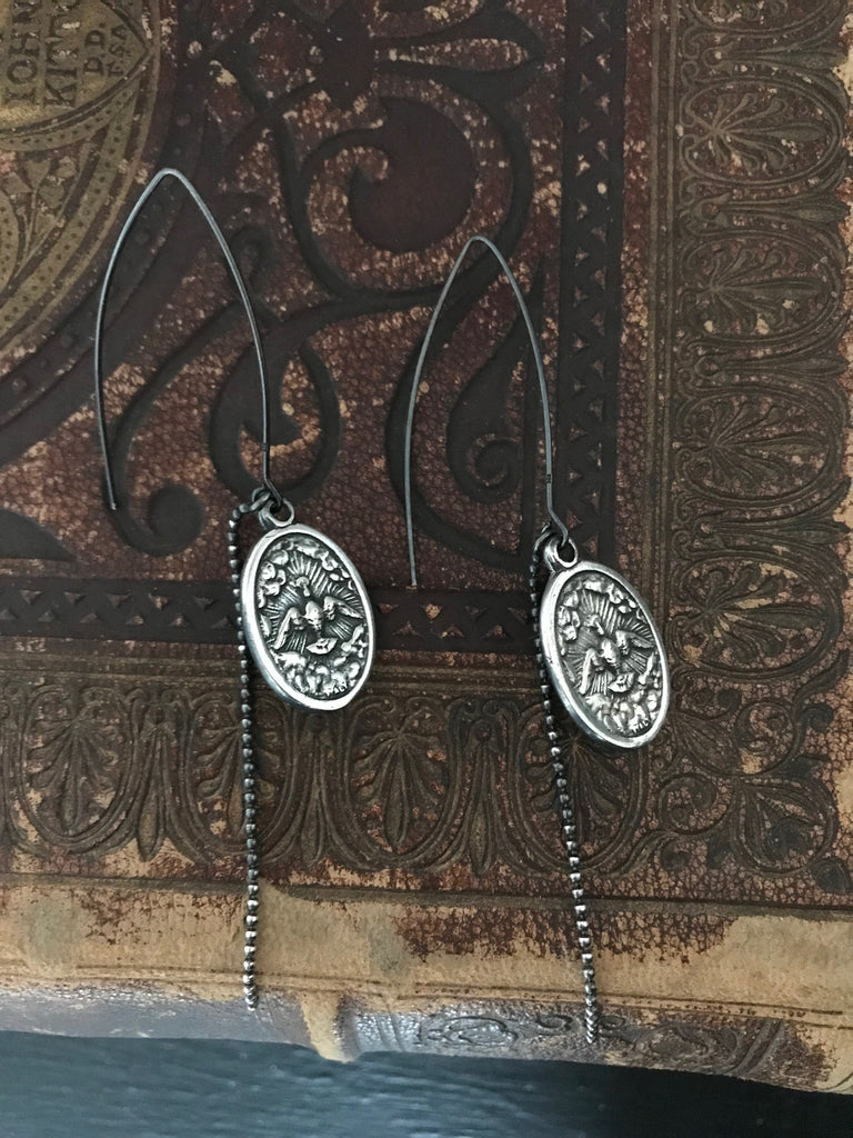 WDTS 925 oxidised Silver icon earrings