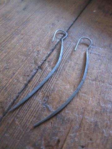 CollardManson Long Oxidised Silver Curved Earrings