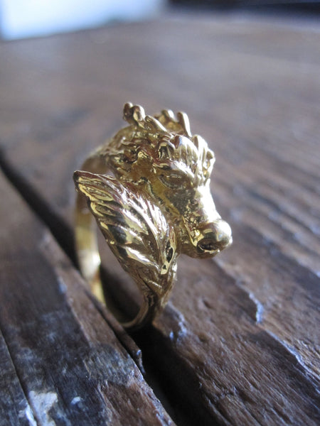 CollardManson 925 Gold Plated Silver Dragon Ring