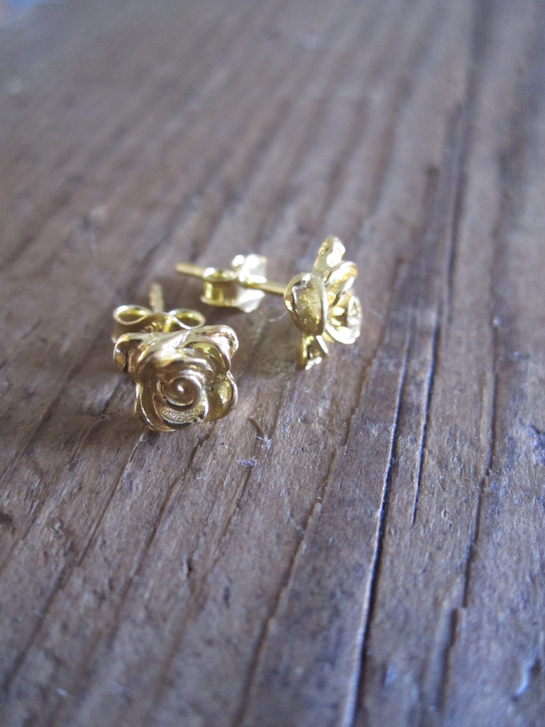 CollardManson 925 Silver rose studs- gold