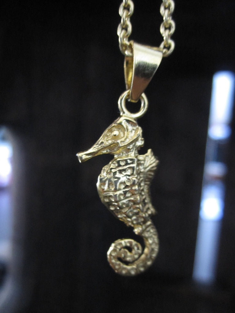 925 Silver Seahorse Necklace - gold plated