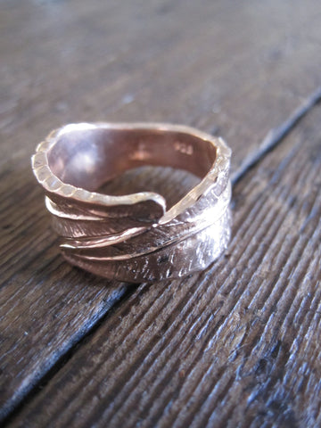 CollardManson 925 Rose Gold Plated silver wrapped leaf ring