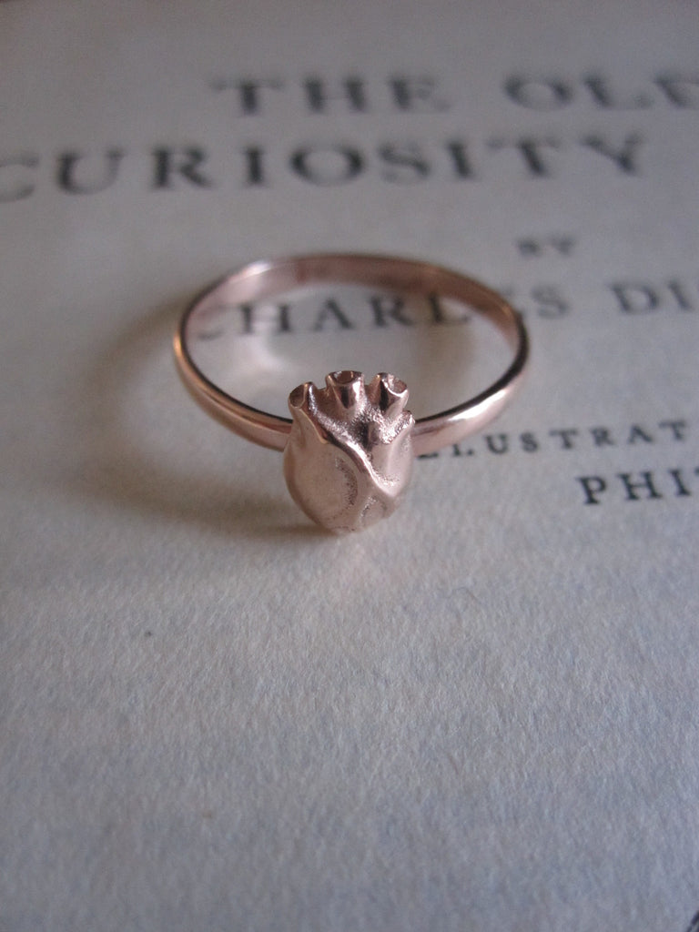 925 Silver Anatomical Heart Ring- rose gold
