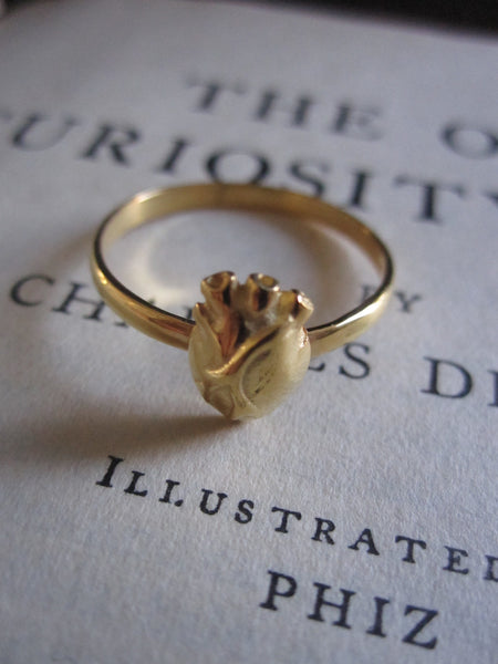 925 Silver Anatomical Heart Ring- gold