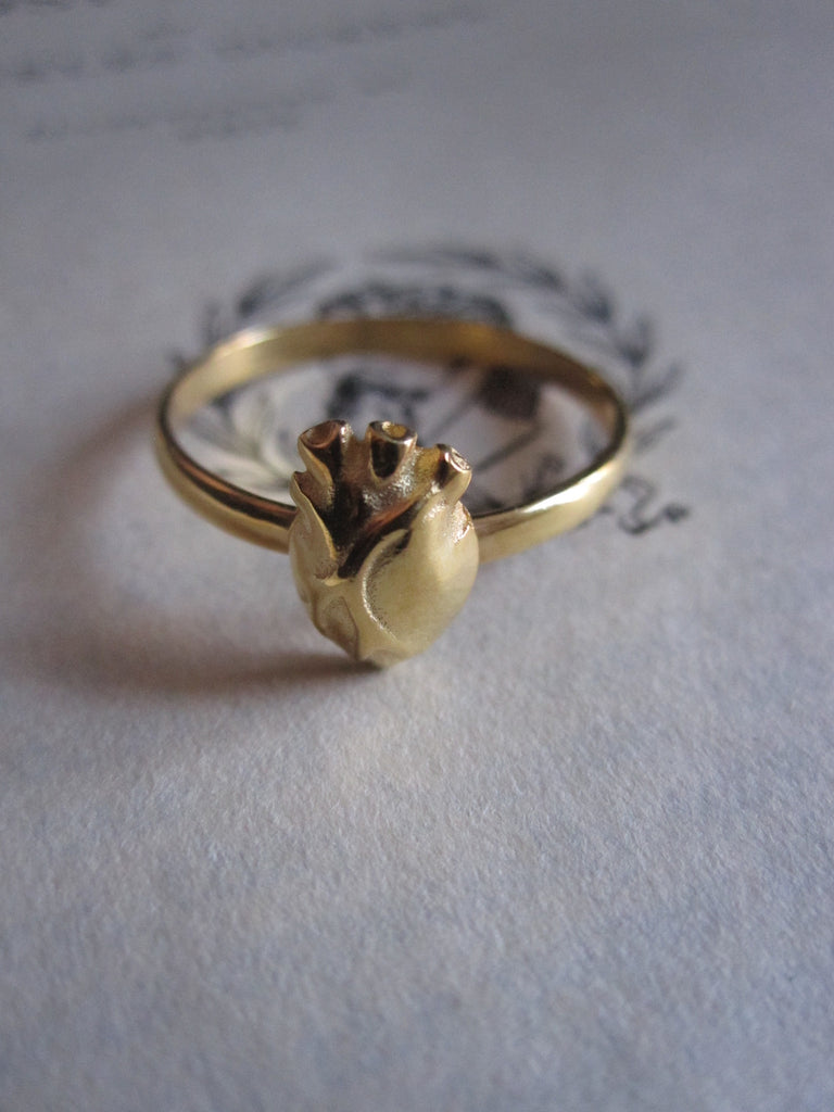 WDTS 925 Anatomical Heart Gold Plated Silver Ring