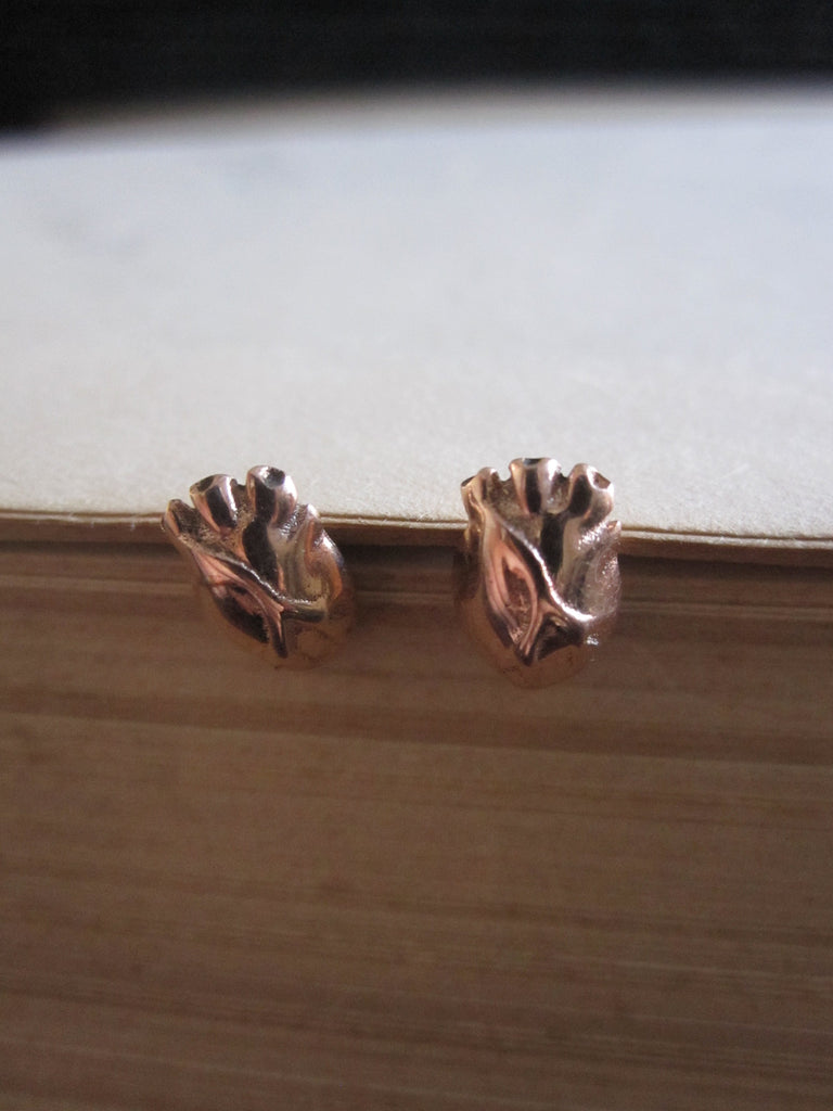 WDTS 925 Silver Heart Earrings- rose gold