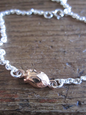 925 Silver rose gold plated anatomical heart Bracelet