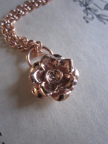 925 Rose Gold Plated Silver Rose Necklace
