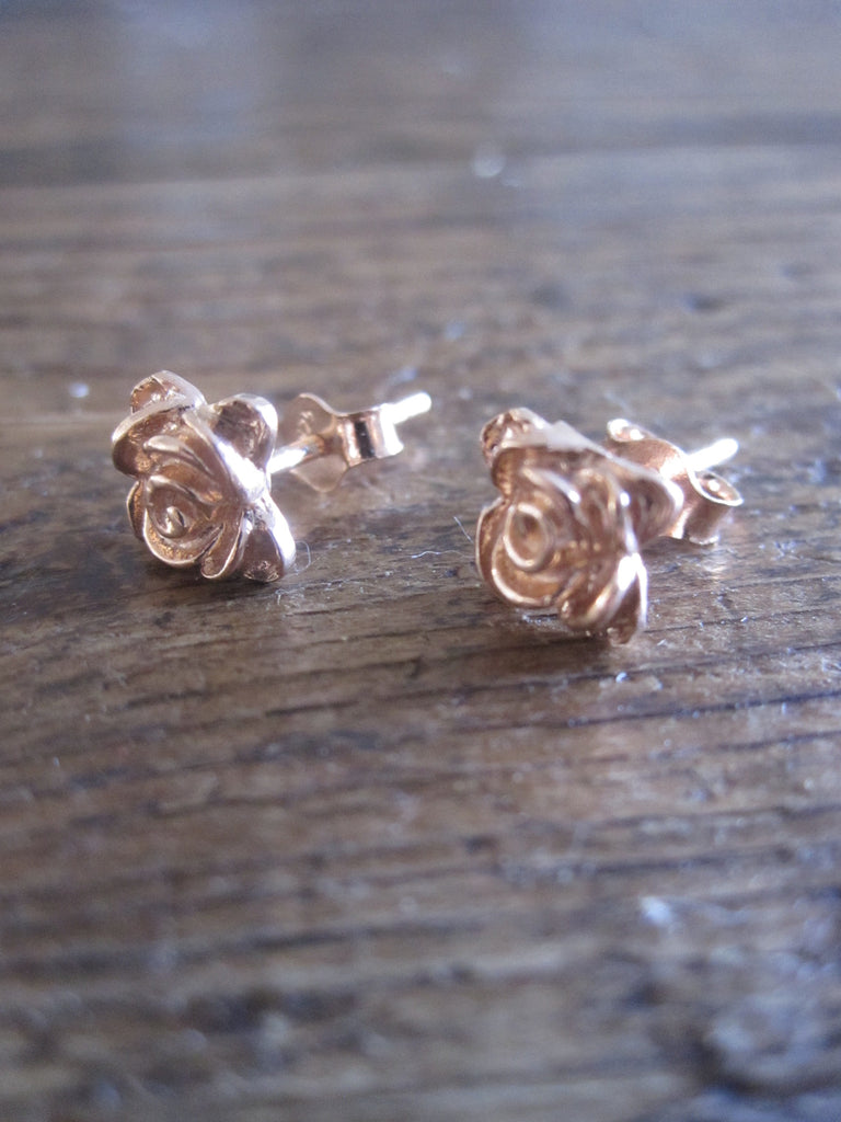 CollardManson 925 Rose Gold Plated Silver rose studs