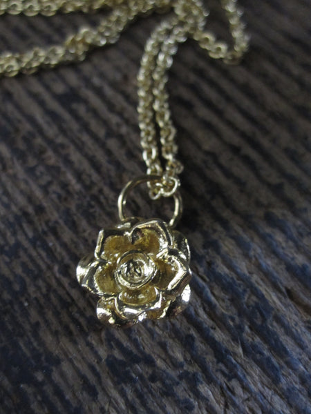 CollardManson 925 Gold Plated Silver Rose Necklace