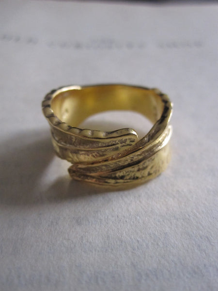 CollardManson 925 Gold Plated silver leaf ring