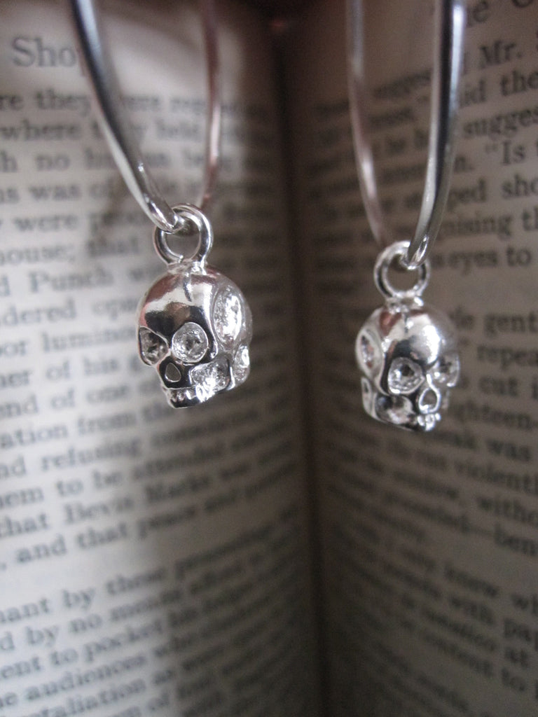 925 Silver Skull Hoop Earrings