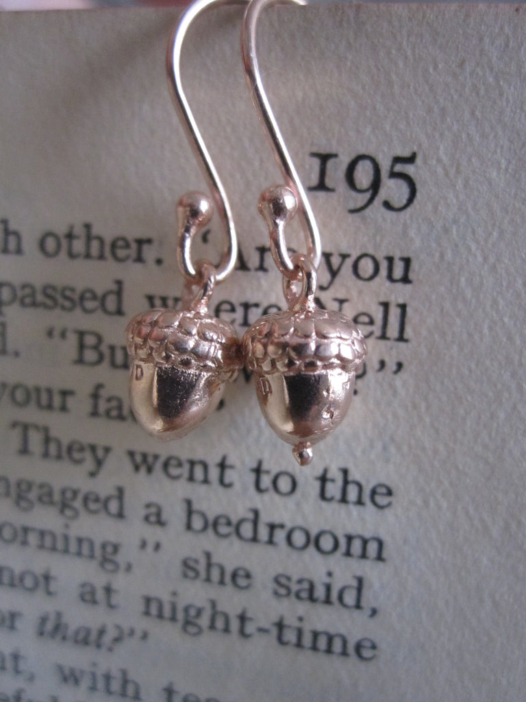 CollardManson 925 Rose Gold plated Silver Acorn Earrings