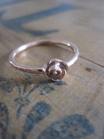 CollardManson 925 Rose Gold Plated Silver Rose Ring