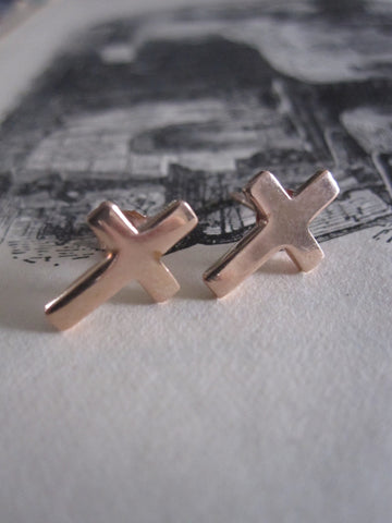 925 Silver Crucifix Studs- Rose gold plated