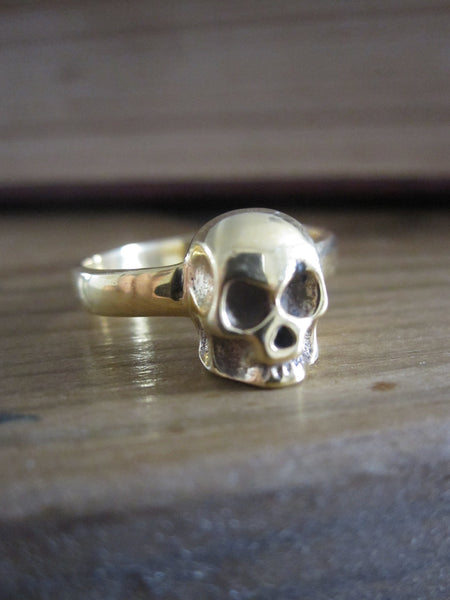 Gold Plated Silver Skull Ring