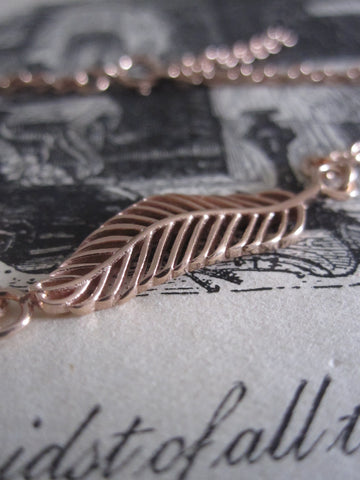 925 Silver feather Bracelet - with rose gold plating