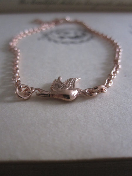 Rose gold plated 925 Silver Little Bird Bracelet