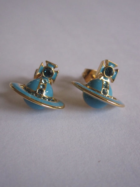 Vivienne Westwood Iona Stud Earrings- Blue/Gold
