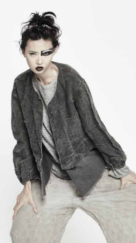un-namable 2 Fabric Short Coat- heathered