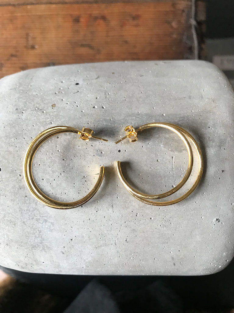 Gold plated 925 Silver Double Circle Crescent Earrings