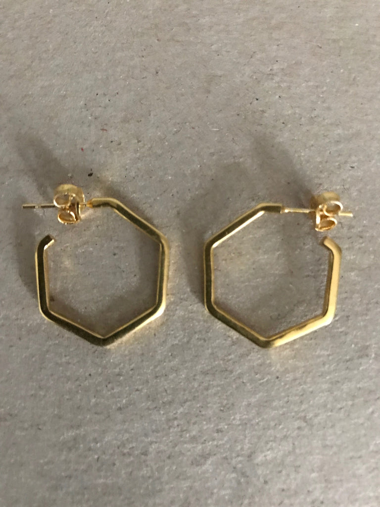 Gold plated 925 Silver small hexagon Earrings- gold