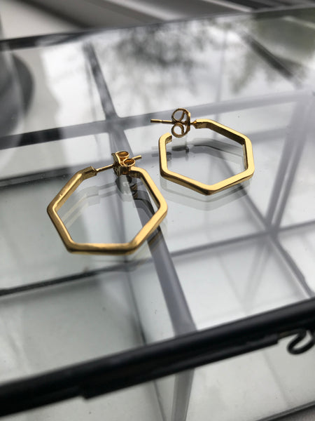 Gold plated 925 Silver small hexagon Earrings