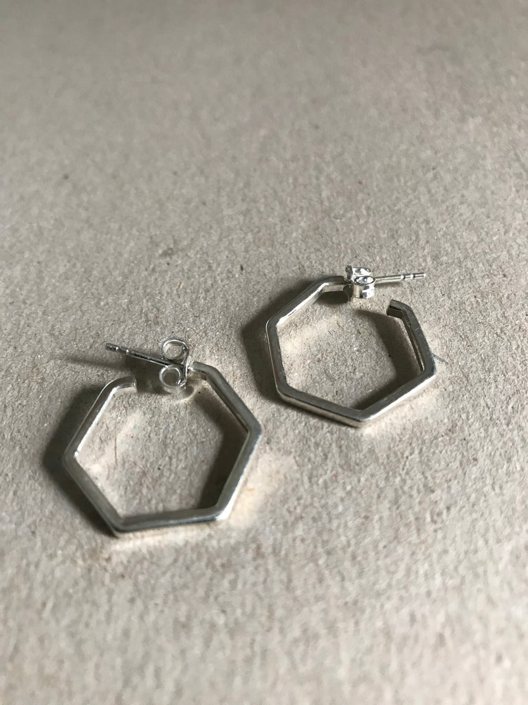 Silver 925 small hexagon Earrings