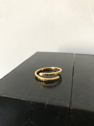Gold plated 925 Silver hammered twist ring