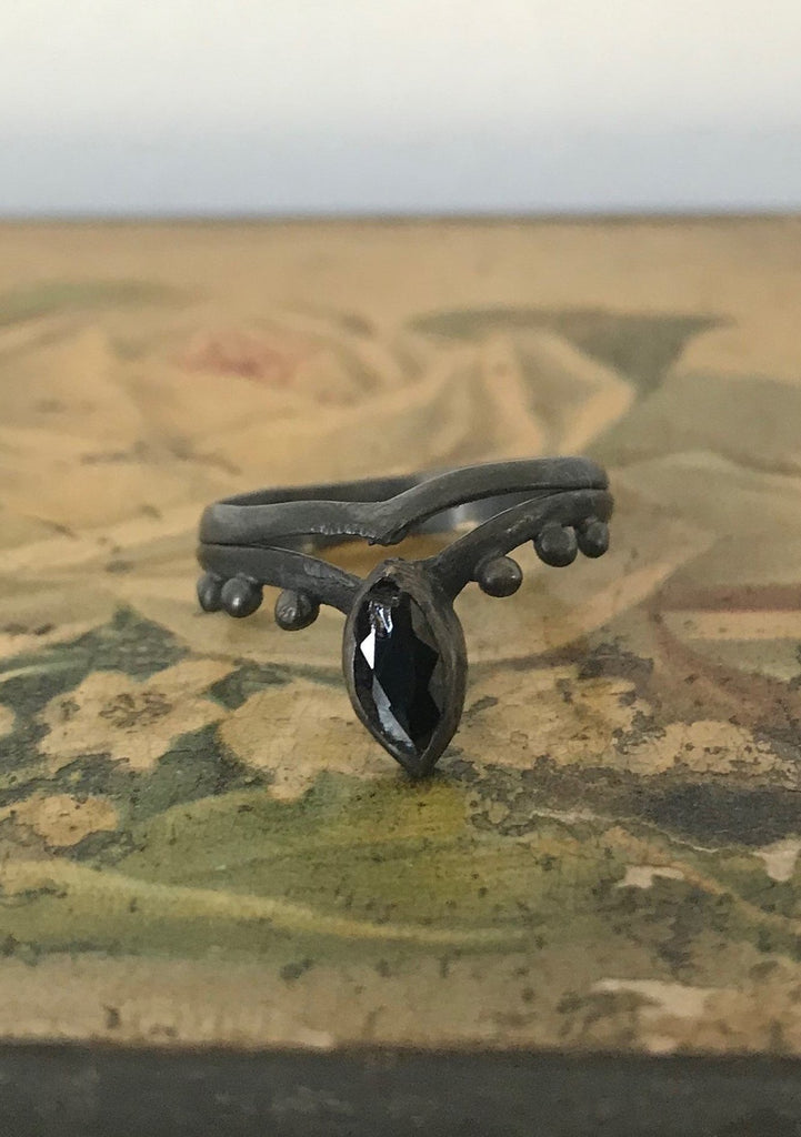 Blackened 925 Silver Ring - black onyx