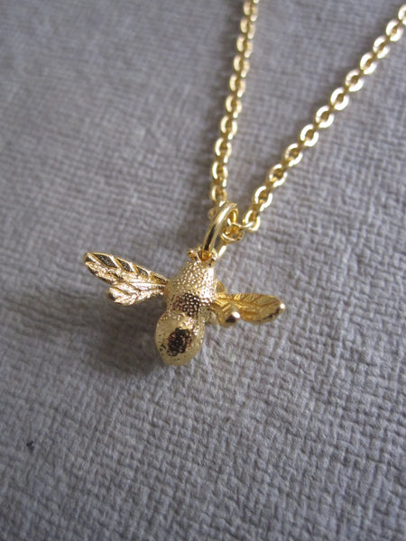 CollardManson 925 silver Bee Necklace-Gold Plated