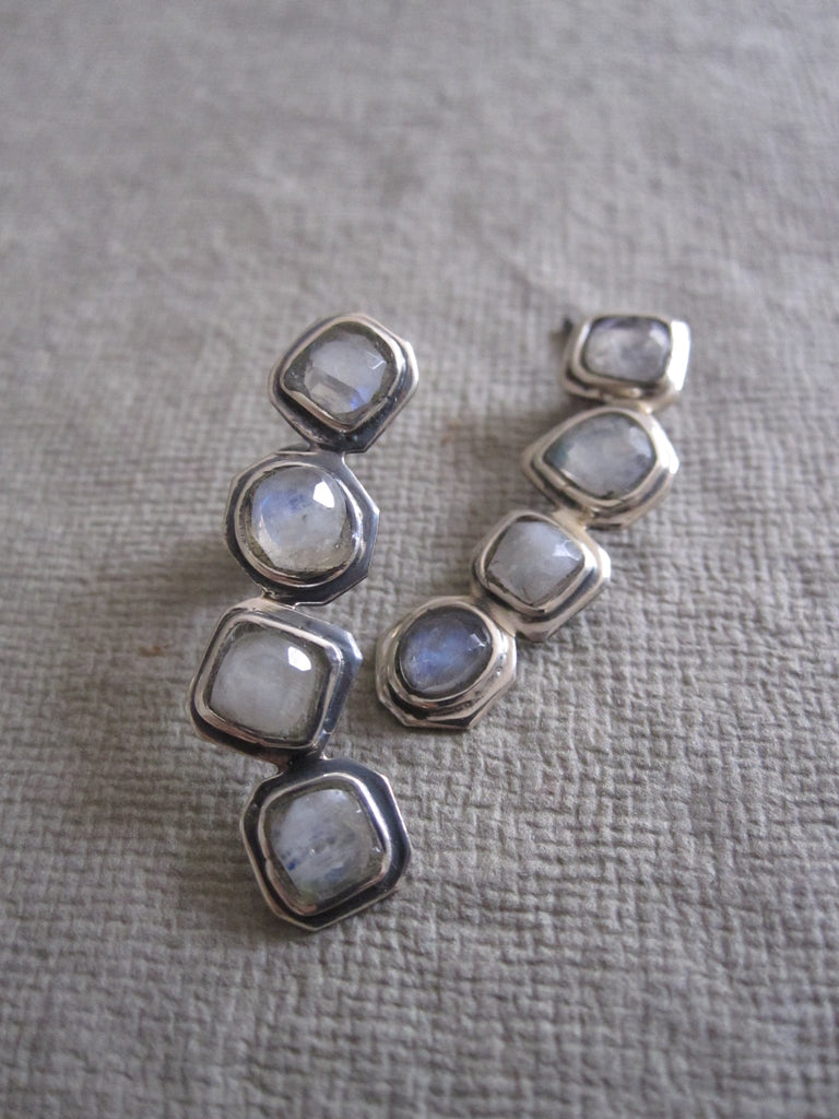 925 silver Irregular Multi Moonstone Earrings