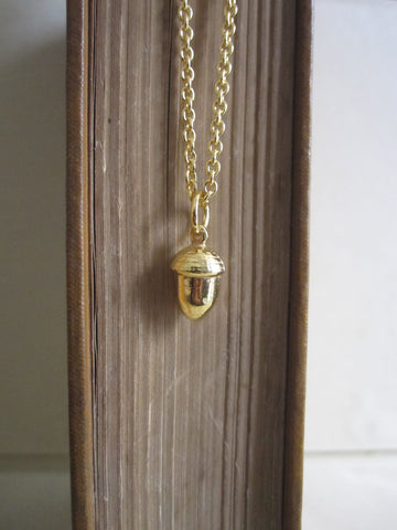 925 silver Acorn Necklace - Gold Plated