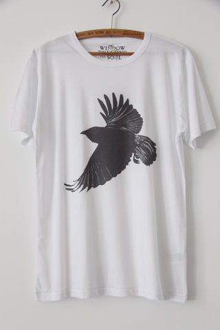 Window Dressing The Soul- Crow Jersey T Shirt white